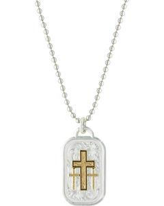 Montana Silversmiths Men's Stainless Steel Golden Cross Necklace, , hi-res