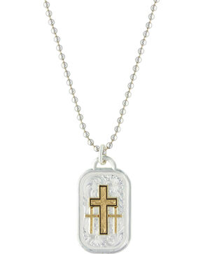Montana Silversmiths Men's Stainless Steel Golden Cross Necklace, Silver, hi-res