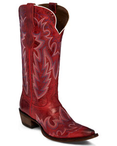 Justin Women's Red Cowhide Western Boots - Snip Toe , , hi-res
