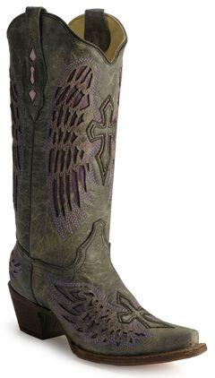 Corral Angel Wing Cross Cowboy Boots, Black, hi-res