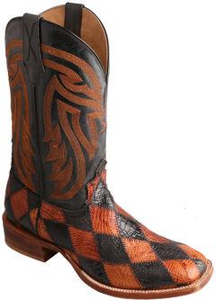 Twisted X Black & Peanut Caiman Rancher Cowboy Boots - Square Toe , , hi-res