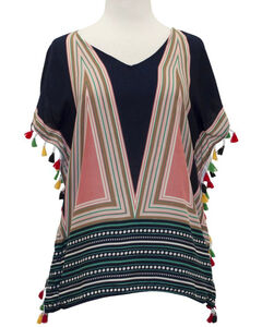Young Essence Women's Short Sleeve Geometric Print Tassel Top, , hi-res