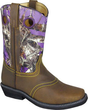 Smoky Mountain Cypress Camo Cowgirl Boots - Square Toe, Brown, hi-res