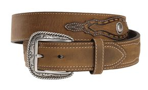 Ariat Night Herder Western Belt - Reg & Big, Aged Bark, hi-res
