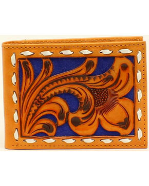 Nocona Men's Bi-Fold Blue Floral Embossed Wallet, Brown, hi-res