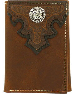 Ariat Men's Scroll Overlay Leather Tri-fold Wallet , Brown, hi-res