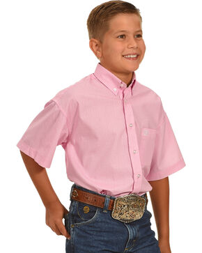 Panhandle Boys' Button Down Short Sleeve Shirt , Pink, hi-res