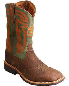 Hooey by Twisted X Youth Boys' Brown Cowboy Boots - Wide Square Toe , , hi-res