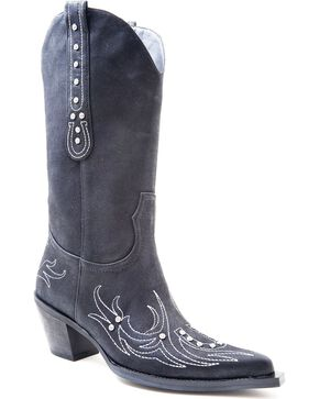 Roper Rhinestone Embellished Horseshoe Embroidered Cowgirl Boots - Pointed Toe, Black, hi-res