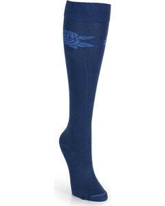 Wrangler Women's Flower Boot Socks, Navy, hi-res