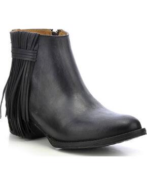 Circle G Fringe Ankle Boots - Medium Toe, Black, hi-res