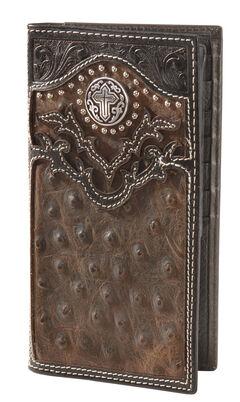Nocona Ostrich Print Vintage Rodeo Wallet, , hi-res