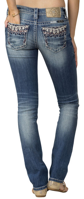 Miss Me Women's Indigo MidRise Embroidered Pocket Jeans - Straight Leg, Indigo, hi-res