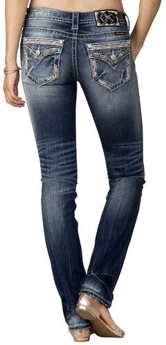Miss Me Women's Indigo Signature Rise Jeans - Straight Leg, , hi-res