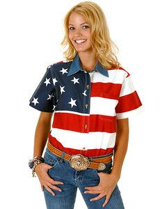 Roper Women's Short Sleeve American Flag Shirt, , hi-res