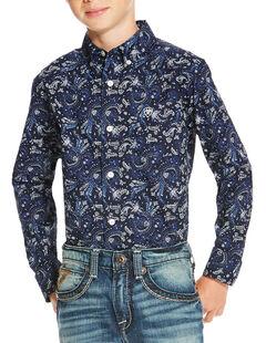 Ariat Boys' Indigo Olex Print Long Sleeve Shirt , Indigo, hi-res