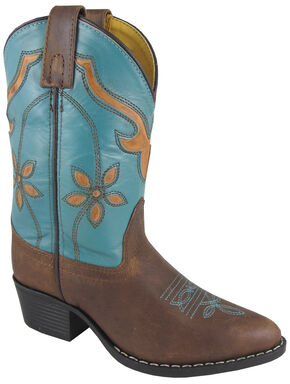Smoky Mountain Youth Girls' Cactus Flower Western Boots - Medium Toe, Brown, hi-res