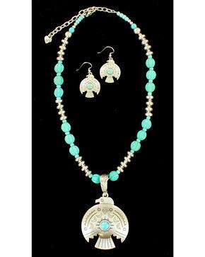 Blazin Roxx Women's Thunderbird Necklace & Earrings Set, Silver, hi-res