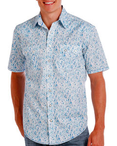 Rough Stock by Panhandle Men's Blue Paisley Short Sleeve Shirt , Blue, hi-res