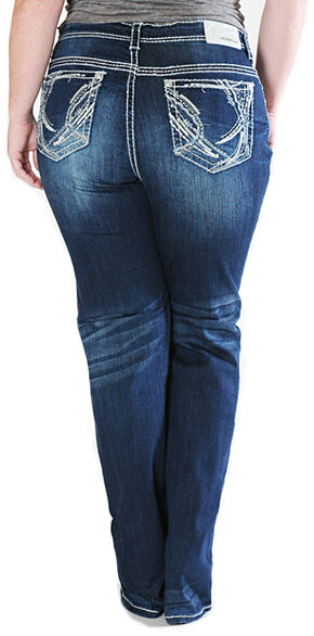 Grace in LA Women's Straight Leg Plus Size Jeans , Indigo, hi-res