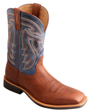 Twisted X Denim Stockman Cowboy Boots - Square Toe , Peanut, hi-res