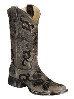 Corral Studded Leather Inlay Cowgirl Boots - Square Toe, , hi-res