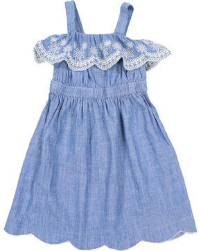 Shyanne Girls' Scalloped Denim Dress, Blue, hi-res
