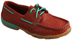 Twisted X Women's Red Print Driving Mocs , , hi-res