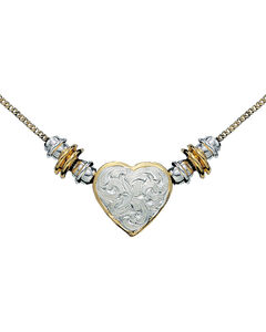 Montana Silversmiths Silver and Gold Heart Beaded Necklace, , hi-res