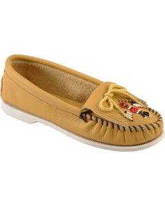 Minnetonka Smooth Leather Thunderbird Moccasins - Boat Sole, , hi-res