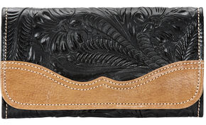 American West Birds of a Feather Red Tri-fold Wallet, Black, hi-res