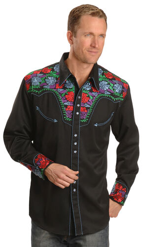 Scully Vibrant Floral Embroidered Retro Western Shirt, , hi-res