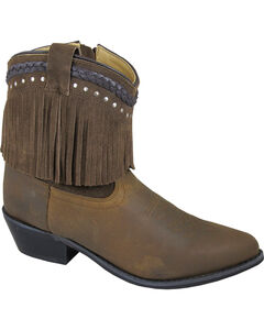 Smoky Mountain Torrance Brown Fringe Short Boots - Pointed Toe, , hi-res