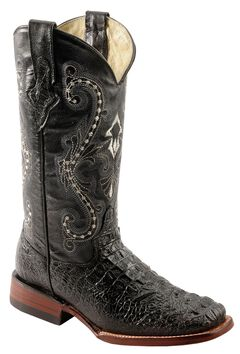 Ferrini Caiman Croc Print Leather Cowgirl Boots - Square Toe, Black, hi-res