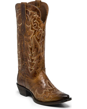 Justin Women's Brown Cowhide Western Boots - Snip Toe , Brown, hi-res