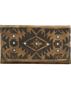 American West Mystic Shadow Tri-Fold Wallet, Dark Brown, hi-res