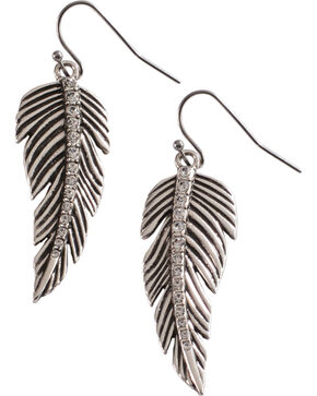 Wrangler Rock 47 Tattoo Art Rhinestone Feather Earrings, Silver, hi-res