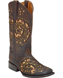 Ferrini Women's Paisley Pattern Boots - Square Toe , Chocolate, hi-res