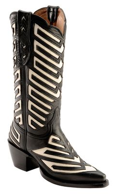 Justin White Inlay Deertan Cowgirl Boots - Snip Toe, , hi-res