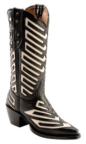 Justin White Inlay Deertan Cowgirl Boots - Snip Toe, Black, hi-res
