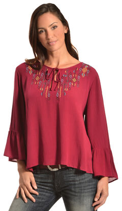 Red Ranch Embroidered Berry Top, , hi-res