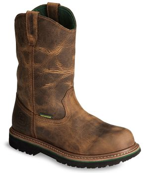 John Deere Waterproof Wellington Work Boots - Soft Toe, Oak, hi-res