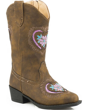 Roper Toddler Girls' Glittery Western Boots - Round Toe, Brown, hi-res