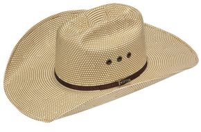 Twister 10X Shantung Americana Check Straw Cowboy Hat, Brown, hi-res