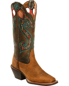 Tony Lama Women's Milled Buffalo Turquoise Top 3R Western Boots - Square Toe, Pecan, hi-res