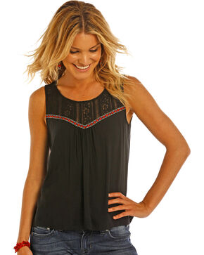 Rock & Roll Cowgirl Women's Black Hi-Low Lace Accented Tank, Black, hi-res