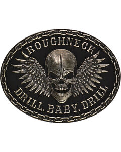 Montana Silversmiths Roughneck Drill Baby Drill Silver-Tone Attitude Buckle, , hi-res