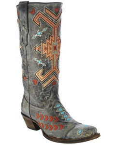 Corral Women's Grey Jute Inlay Boots - Square Toe , , hi-res