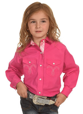 Panhandle Girls' Solid Two Pocket Long Sleeve Shirt , Pink, hi-res