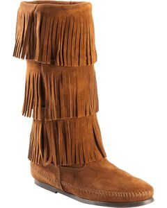 Minnetonka Tall Fringed Boots, , hi-res